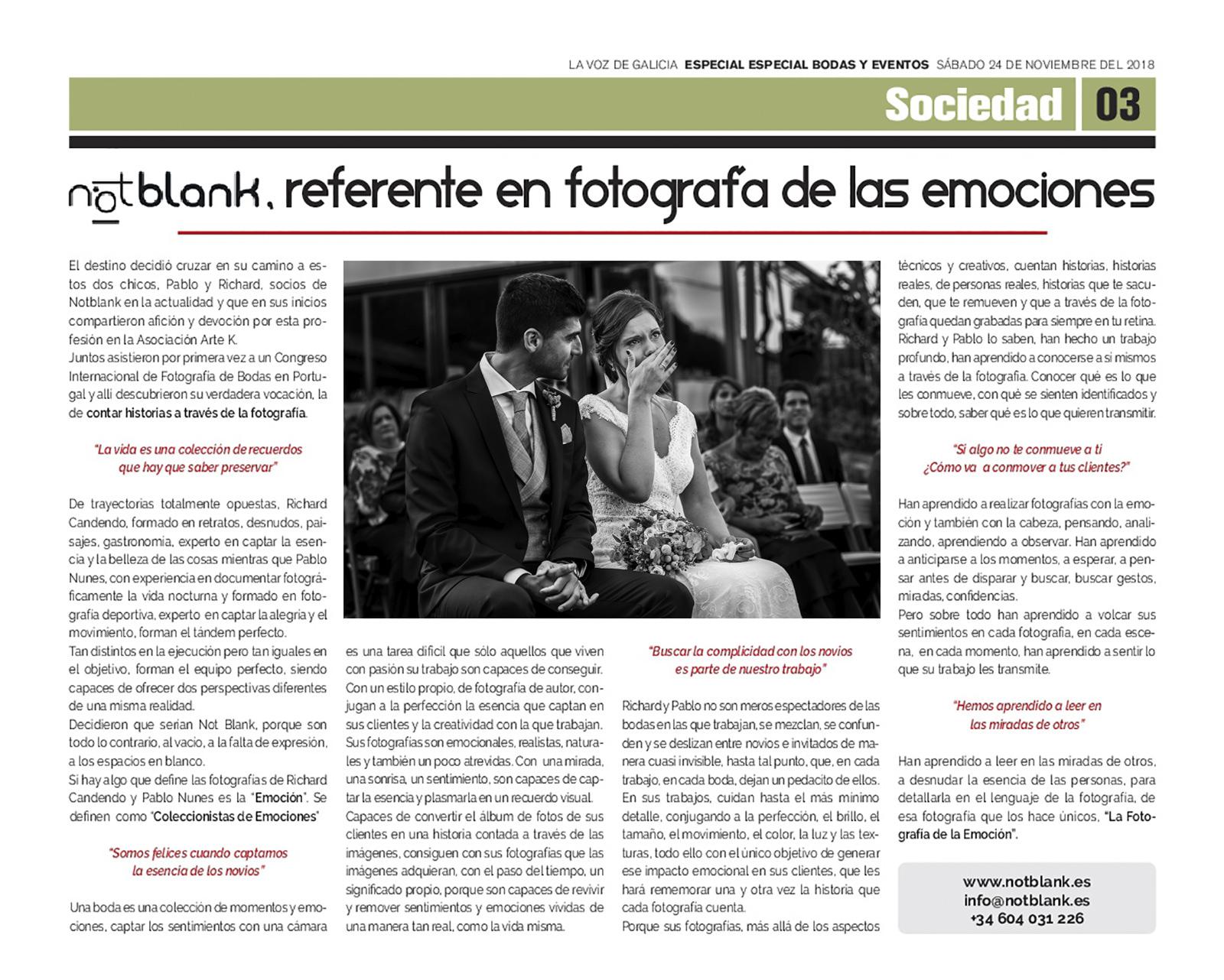 Publicacion Prensa | Notblank Fotografos de Boda - Referente En Fotografia De Las Emociones